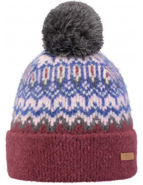 Barts Drew Bobble Hat in Burgundy