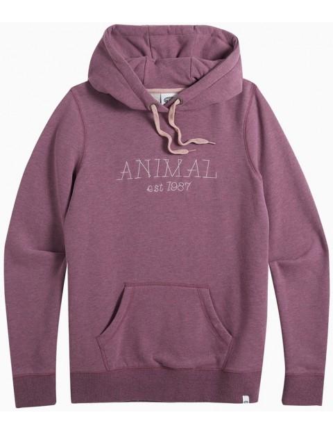 Animal Sketched Pullover Hoody in Grape Purple Marl