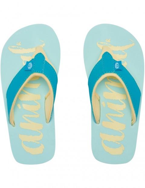 PEACOCK BLUE GIRLS ANIMAL /'SWISH LOGO/' FLIP FLOPS
