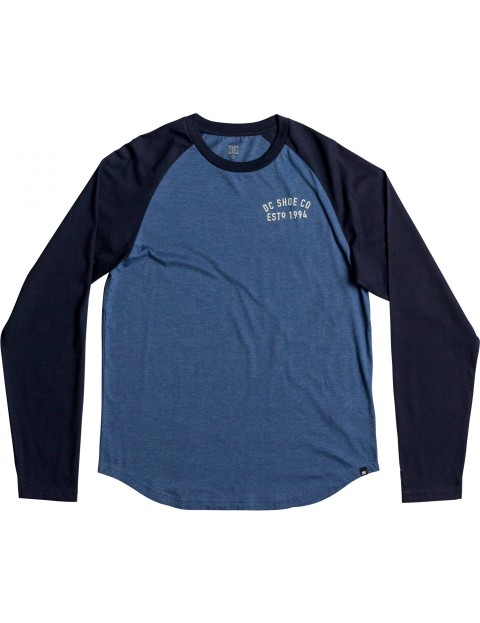 DC Clear Version Long Sleeve T-Shirt in Washed Indigo Heathe