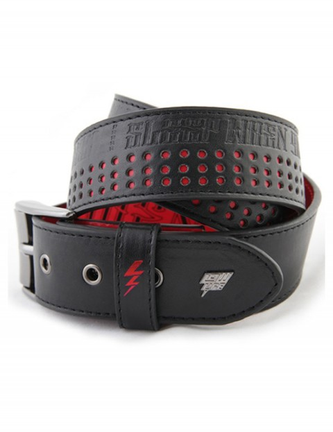 Lowlife SWYD Perf Leather Belt in Black Red