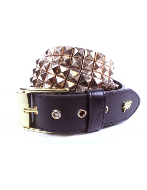 Lowlife Triple S Studded Leather Belt in Rose Gold