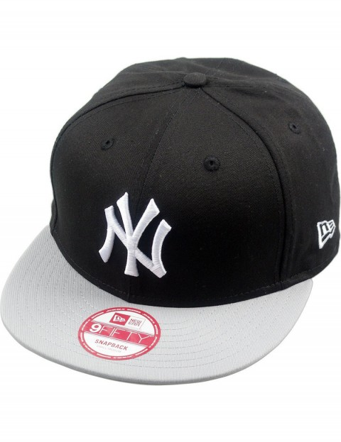 New Era MLB Cotton Block NY Yankees Cap in Black/Grey/White