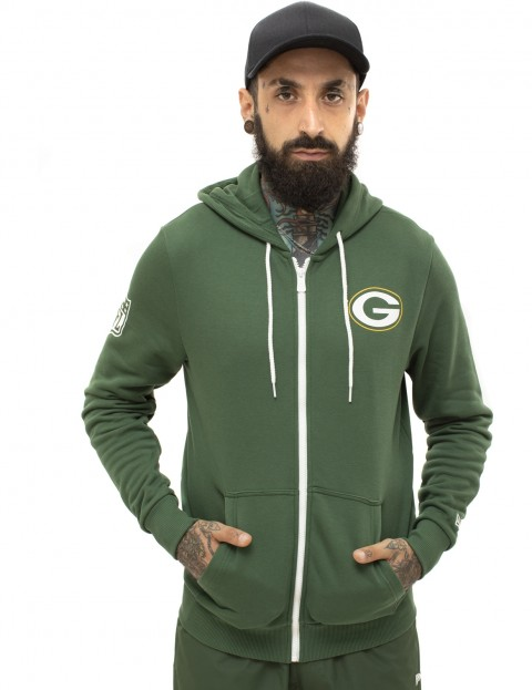 New Era NFL Large Graphic Green Bay Packers Zipped Hoody in Cilantro Green