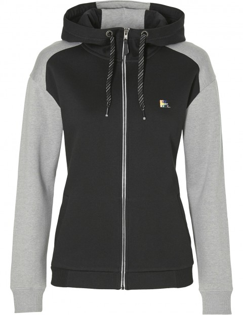 ONeill Colour Block Zipped Hoody in Black Aop W/ Grey