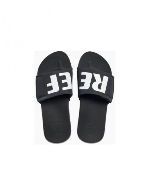 5baf8264c41 Reef Cushion Bounce Slide Sliders in Black White Logo