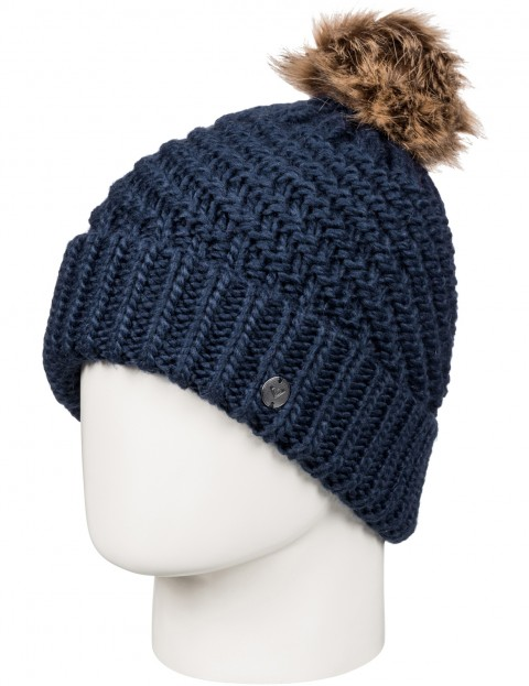 Roxy Blizzard Bobble Hat in Peacoat