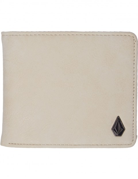 Volcom Slim Stone L Faux Leather Wallet in Dirty White