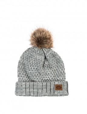 Animal Becki Bobble Hat in Grey Marl