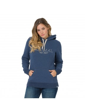 Animal Sketched Pullover Hoody in Dark Navy Marl