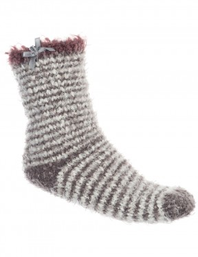 Animal Velvet Adella Bed Socks in Grey Marl