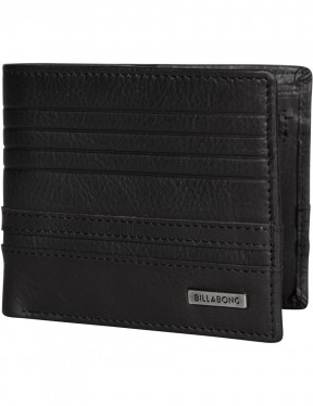 Billabong Phoenix Snap Leather Wallet in Black