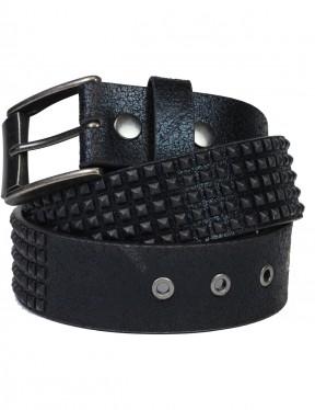 Lowlife Shrink Leather Belt in Matt Black