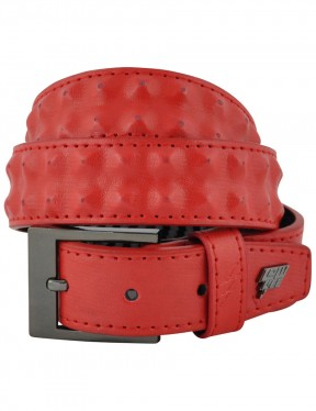 Lowlife Cover Up Slim Leather Belt in Red