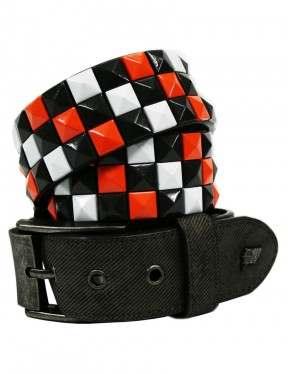 Lowlife Triple S Studded Leather Belt in Graphite White Orange
