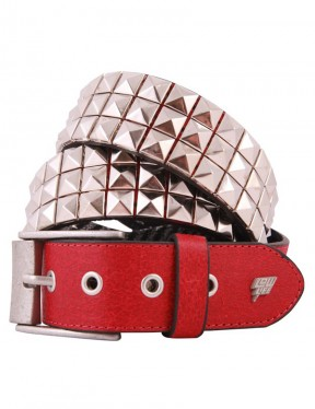 Lowlife Triple S Studded Leather Belt in Red and Silver