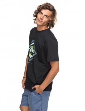 Quiksilver Classic Crimson Skyline Short Sleeve T-Shirt in Black