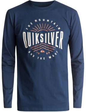 Quiksilver Mad Wave Classic Long Sleeve T-Shirt in Dark Denim