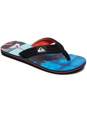 Quiksilver Molokai Layback Flip Flops in BLACK/ORANGE/BLUE