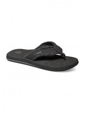 Quiksilver Monkey Abyss Flip Flops in Black Black Brown