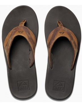 Reef Leather Fanning Leather Sandals in Black/Bronze