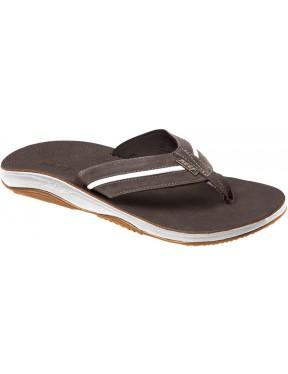 Reef Playa Cervesa Leather Sandals in Dark Brown/White