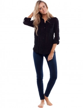 Rhythm Dahlia Long Sleeve Shirt in Black