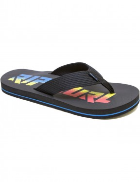 5843d229081d1 Rip Curl Bob Cush Flip Flops in Black Yellow Blue