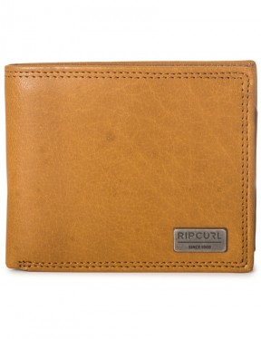 Rip Curl Clean RFID Leather Wallet in Tan