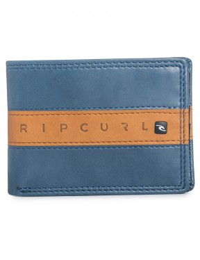 Navy Rip Curl Word Boss Slim Faux Leather Wallet
