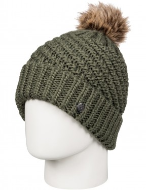 Roxy Blizzard Bobble Hat in Dust Ivy