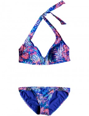 Roxy Mix Blossom Halter Bikini in Royal Blue Beyond Love