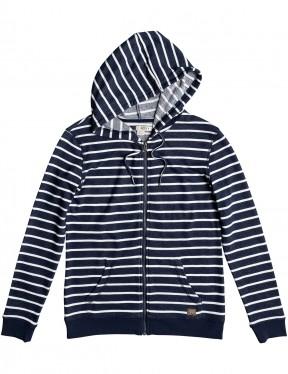 Roxy Trippin Stripe Zipped Hoody in Dress Blues