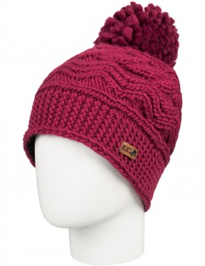 Roxy Winter Bobble Hat in Beet Red