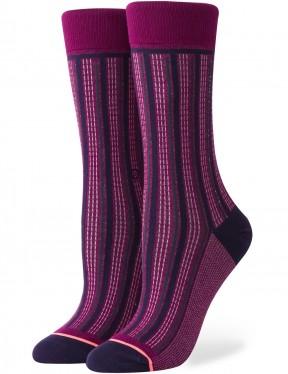 Stance Stripe Down Crew Socks in Merlot