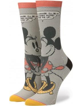 Stance Tick Tock Minnie Crew Socks in Off White