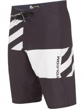 Volcom Lido Block Mod Mid Length Boardshorts in Black White
