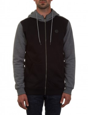 Volcom Single Stone Colour Block Zipped Hoody in Black