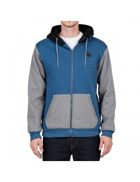 Volcom Single Stone Lined Zipped Hoody in Smokey Blue
