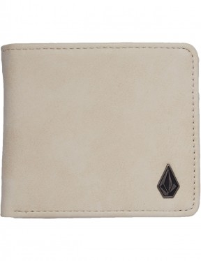 Volcom Slim Stone Faux Leather Wallet in Dirty White