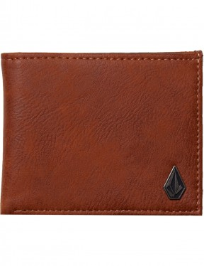 Volcom Slim Stone Faux Leather Wallet in Hazelnut