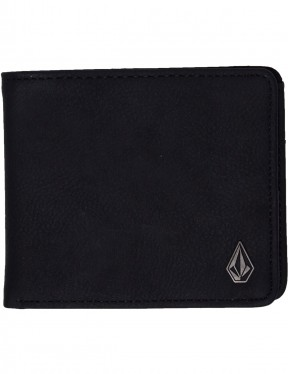 Volcom Slim Stone L Faux Leather Wallet in Black