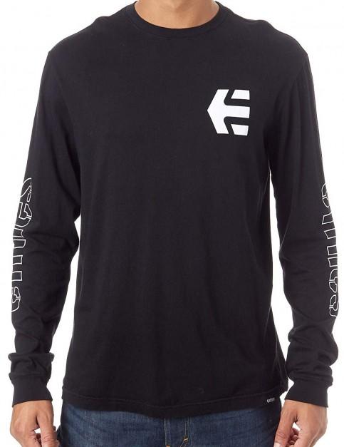 Etnies Stencil Long Sleeve T-Shirt in Black/White