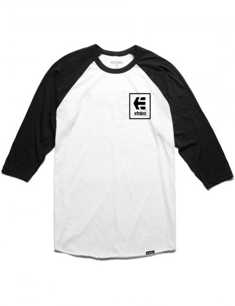 Etnies Stack Box Long Sleeve T-Shirt in Black/White