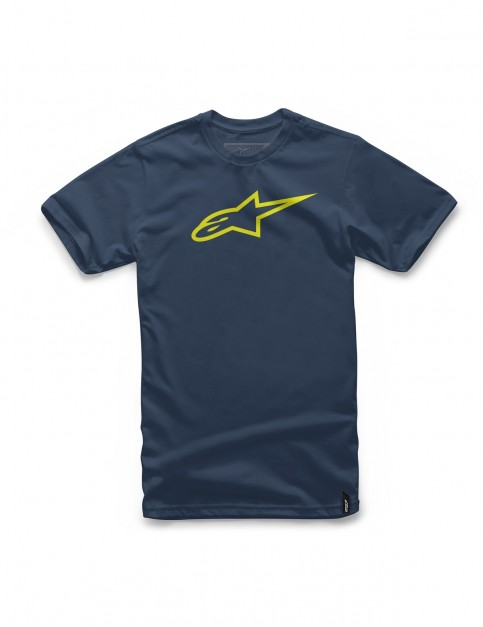 Alpinestars Ageless Short Sleeve T-Shirt in Navy/Hi Vis Yellow