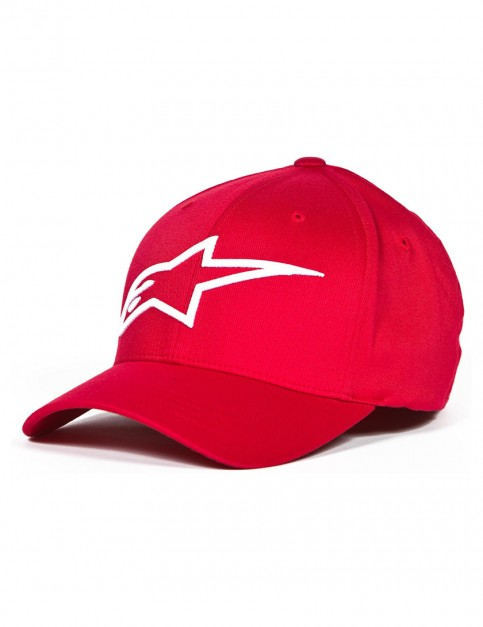 Red/White Alpinestars Logo Astar Curved Flexfit Cap