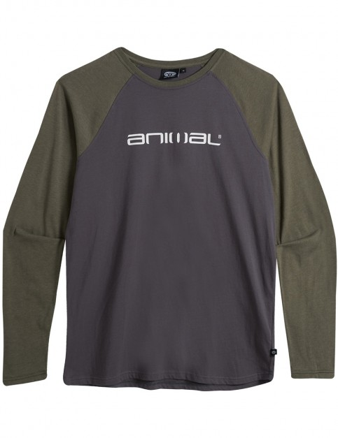 Animal Action Long Sleeve T-Shirt in Dark Olive Green Marl