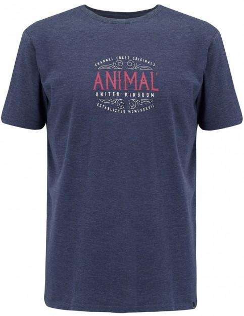 Animal Barrel Short Sleeve T-Shirt in Dark Navy Marl