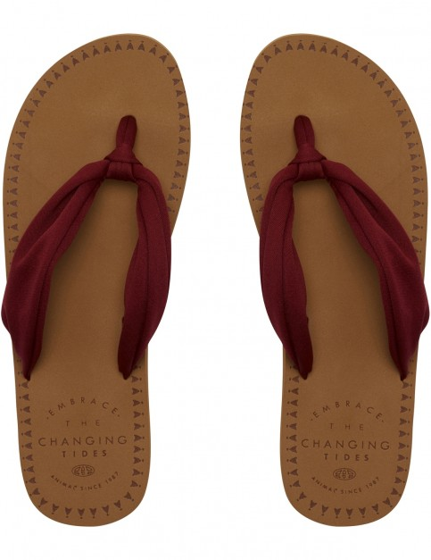 Animal Cilla Flip Flops in Bordeaux Red