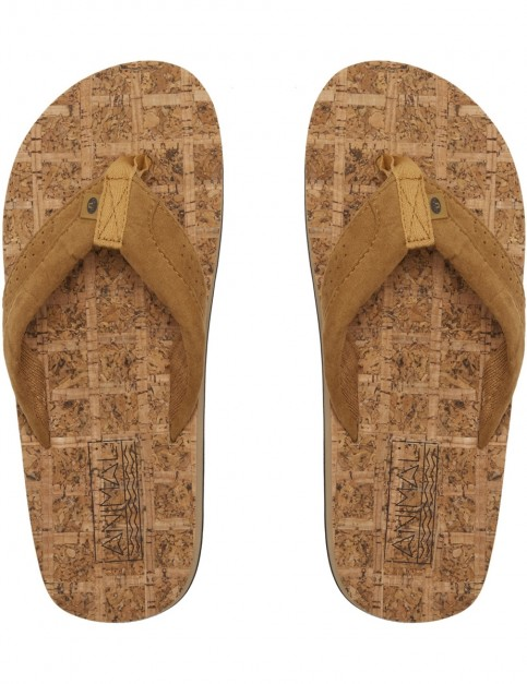 Animal Corky Flip Flops in Dijon Brown